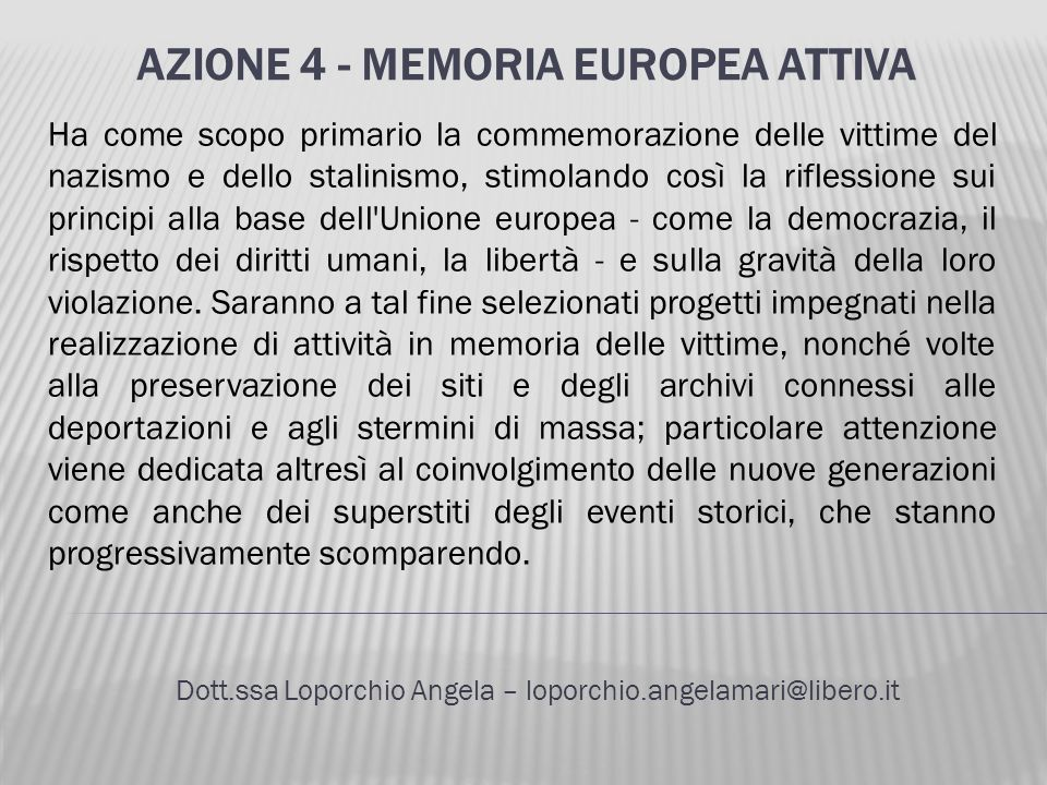 Azione 4 - Memoria europea attiva