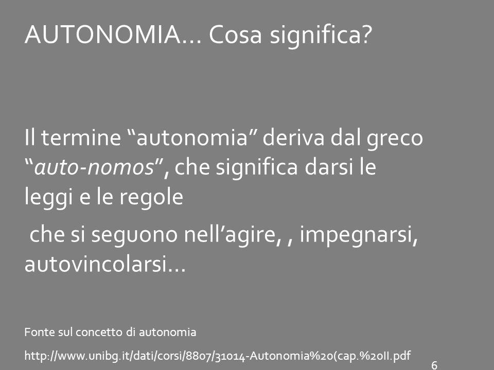 AUTONOMIA… Cosa significa