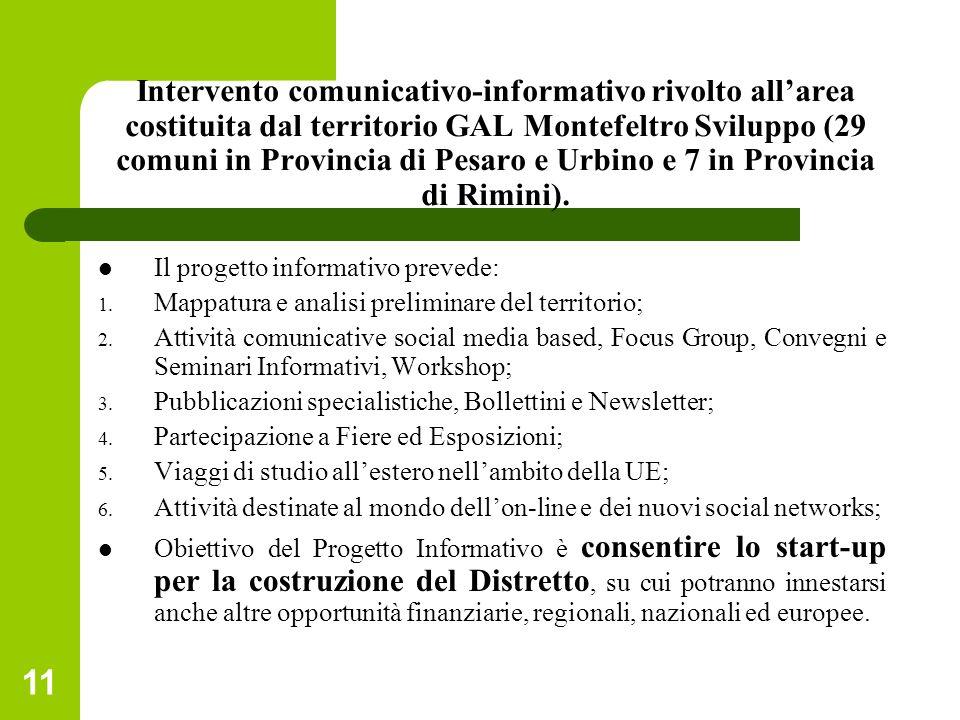 Intervento comunicativo-informativo rivolto all'area costituita dal territorio GAL Montefeltro Sviluppo (29 comuni in Provincia di Pesaro e Urbino e 7 in Provincia di Rimini).