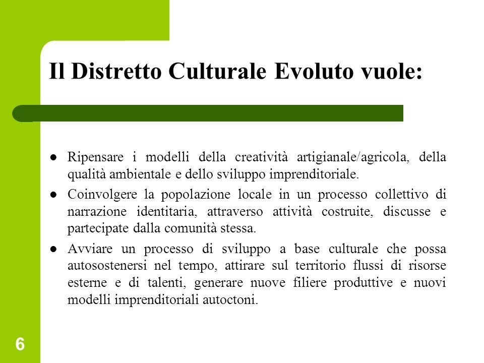 Il Distretto Culturale Evoluto vuole: