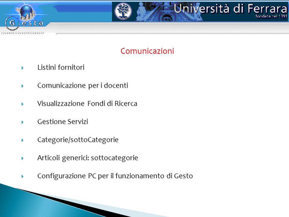 Comunicazioni Listini fornitori Comunicazione per i docenti