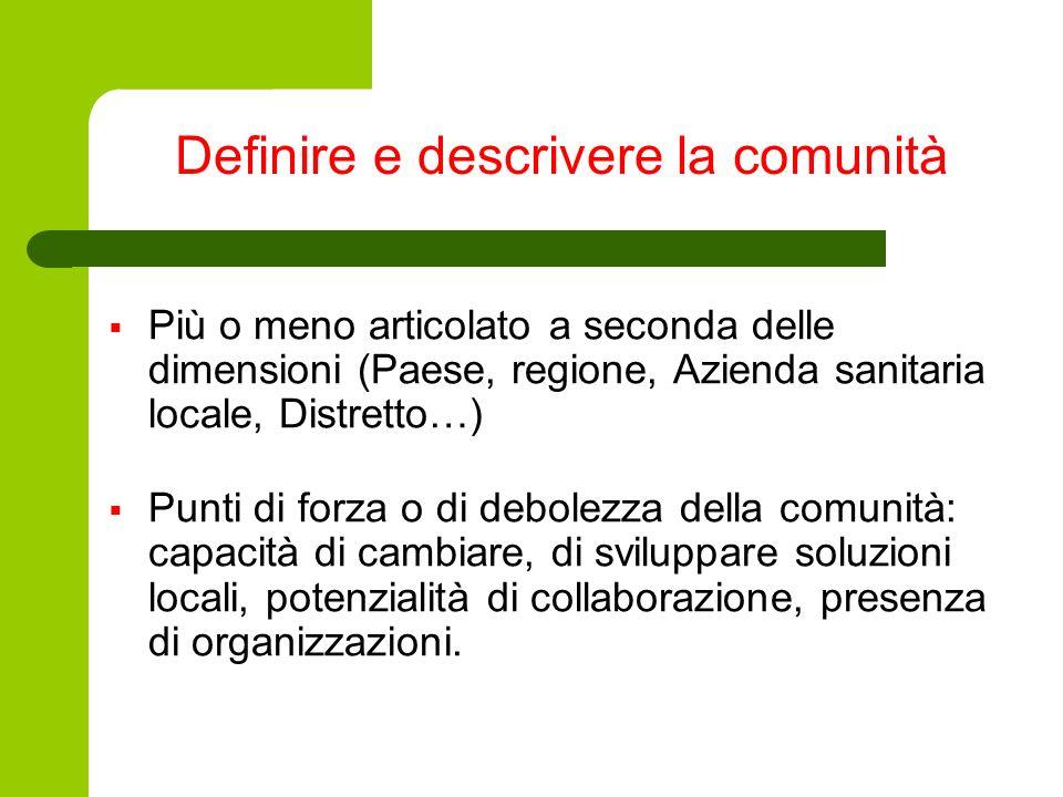 Definire e descrivere la comunità