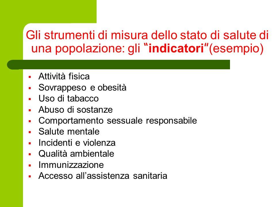 Gli strumenti di misura dello stato di salute di una popolazione: gli indicatori (esempio)