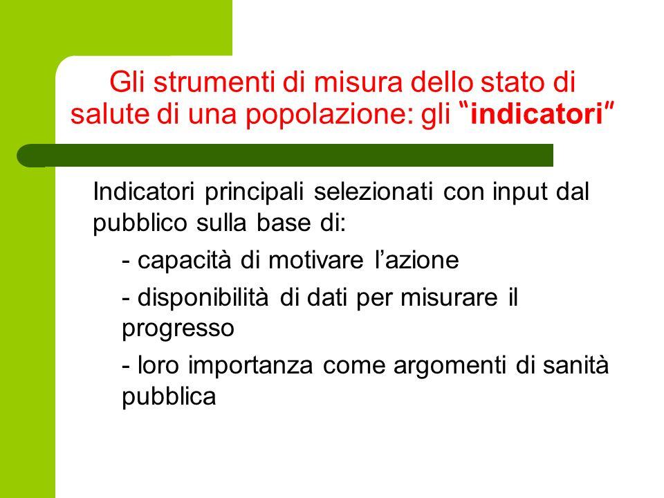 Gli strumenti di misura dello stato di salute di una popolazione: gli indicatori