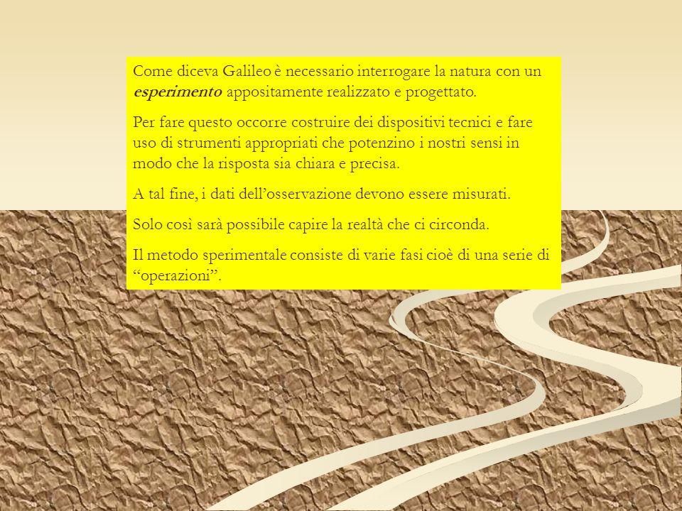 Come diceva Galileo è necessario interrogare la natura con un esperimento appositamente realizzato e progettato.