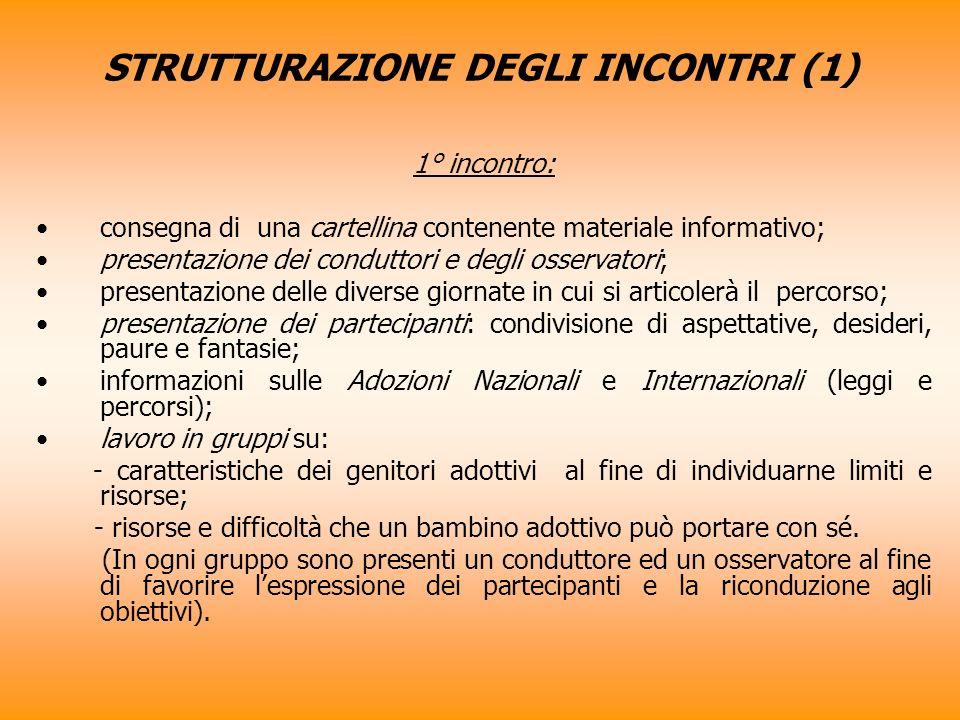 STRUTTURAZIONE DEGLI INCONTRI (1)