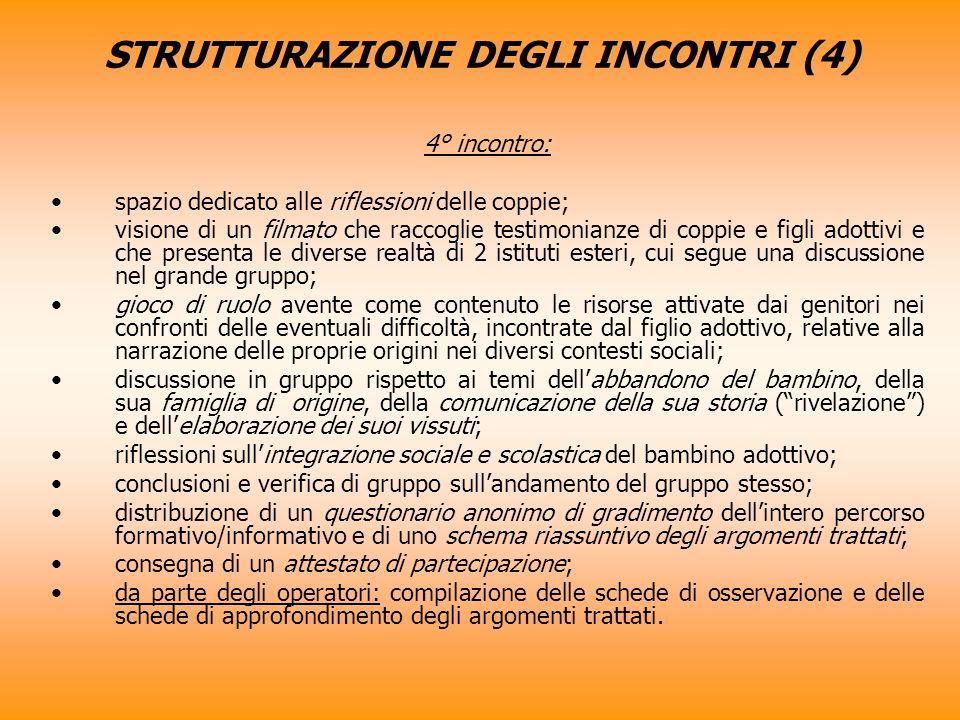 STRUTTURAZIONE DEGLI INCONTRI (4)