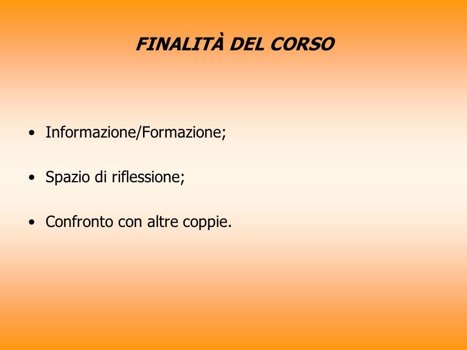 FINALITÀ DEL CORSO Informazione/Formazione; Spazio di riflessione;