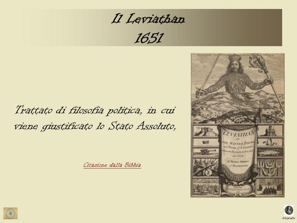 Il Leviathan 1651 Trattato di filosofia politica, in cui viene giustificato lo Stato Assoluto, Citazione dalla Bibbia.
