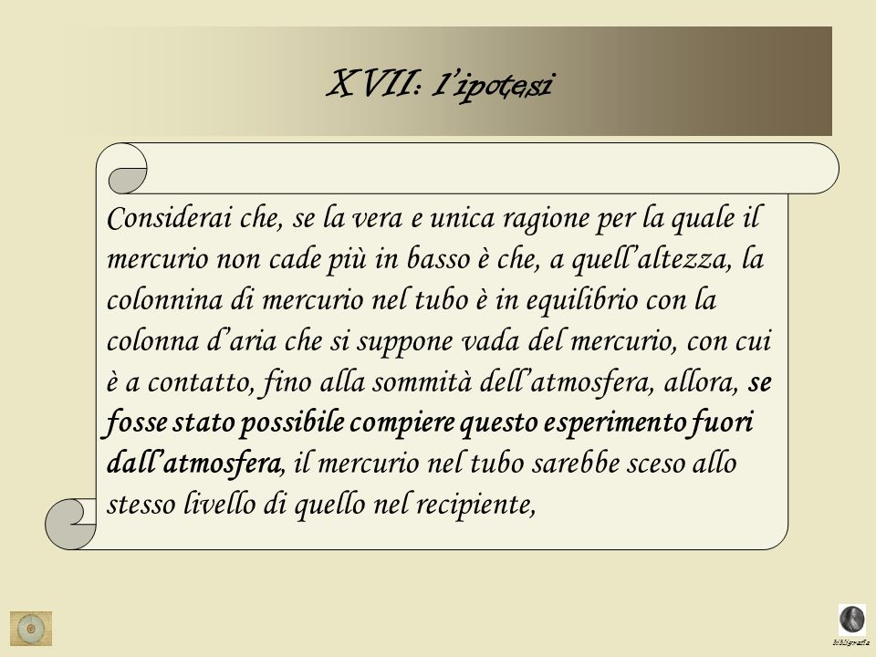 XVII: l'ipotesi