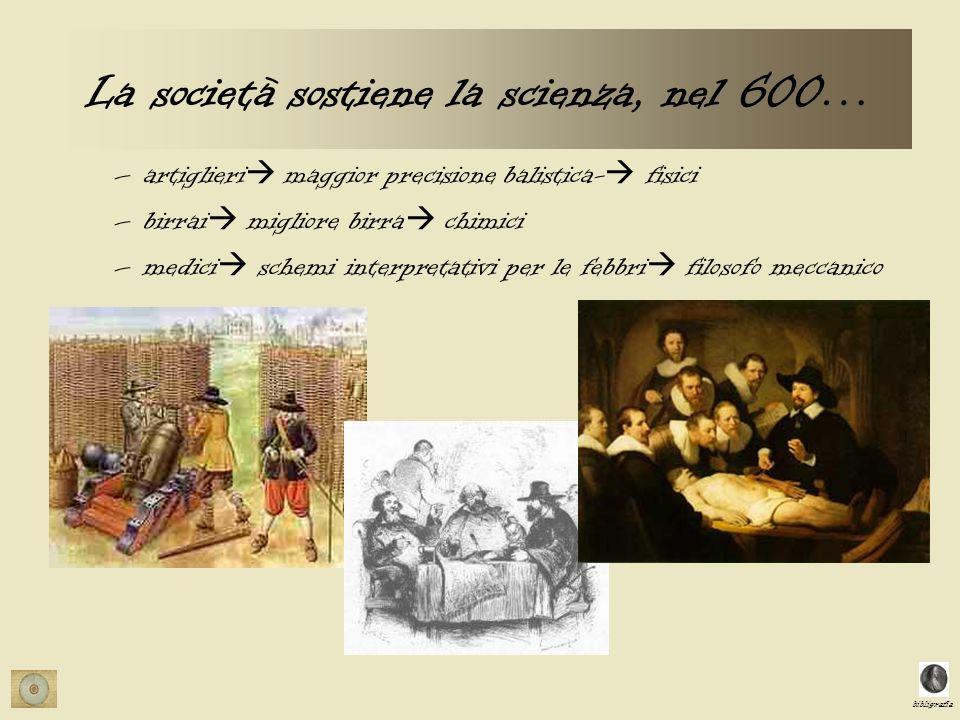 La società sostiene la scienza, nel 600…