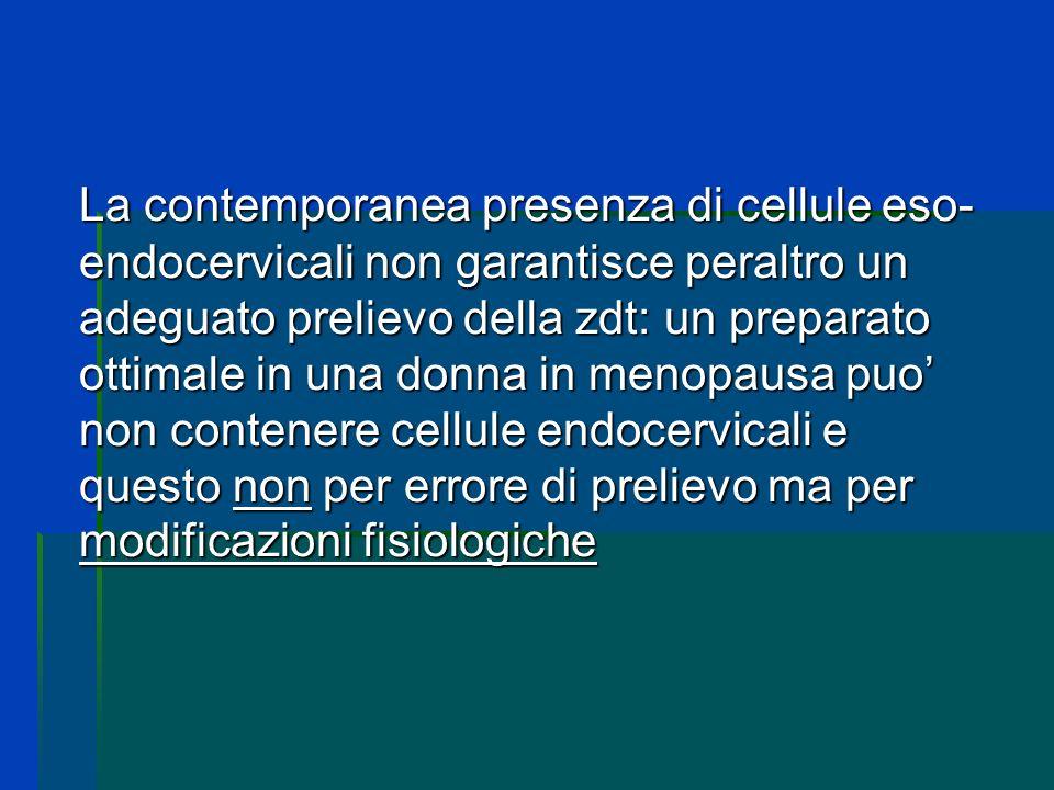 La contemporanea presenza di cellule eso-endocervicali non garantisce peraltro un adeguato prelievo della zdt: un preparato ottimale in una donna in menopausa puo' non contenere cellule endocervicali e questo non per errore di prelievo ma per modificazioni fisiologiche