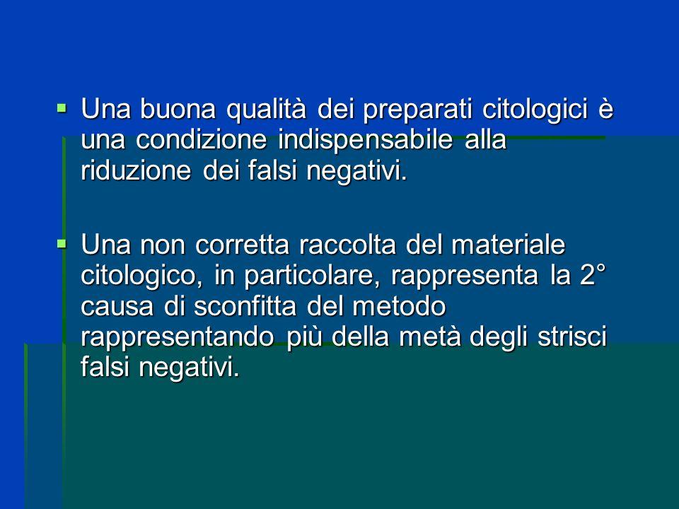 Una buona qualità dei preparati citologici è una condizione indispensabile alla riduzione dei falsi negativi.