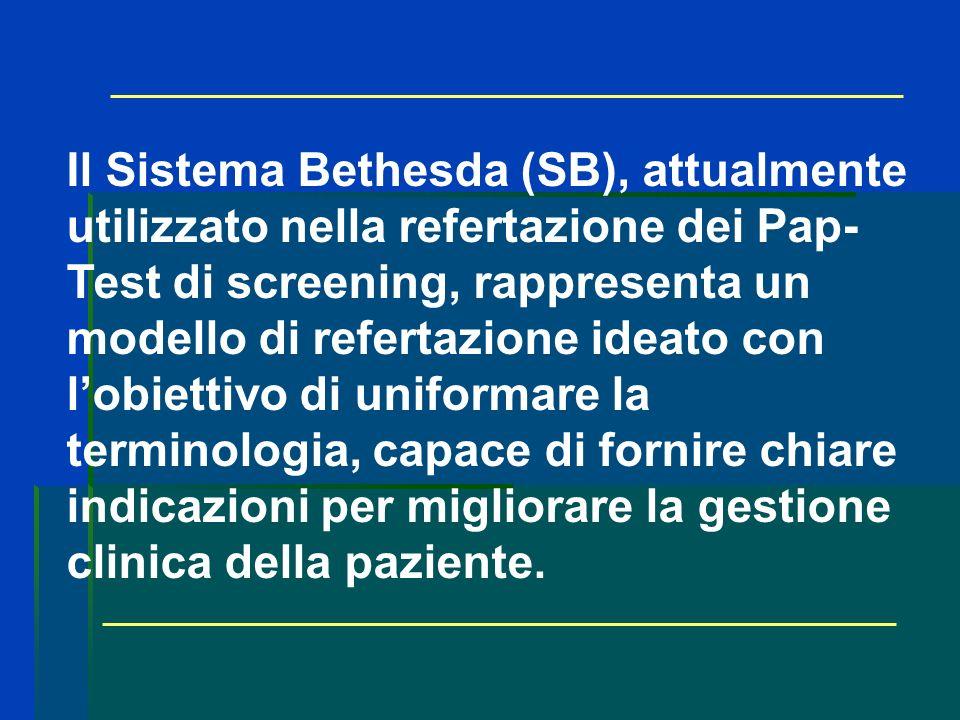 Il Sistema Bethesda (SB), attualmente utilizzato nella refertazione dei Pap-Test di screening, rappresenta un modello di refertazione ideato con l'obiettivo di uniformare la terminologia, capace di fornire chiare indicazioni per migliorare la gestione clinica della paziente.