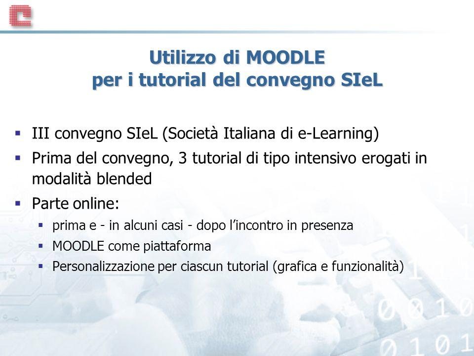 Utilizzo di MOODLE per i tutorial del convegno SIeL