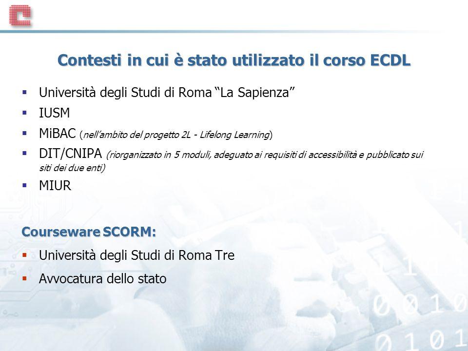 Contesti in cui è stato utilizzato il corso ECDL