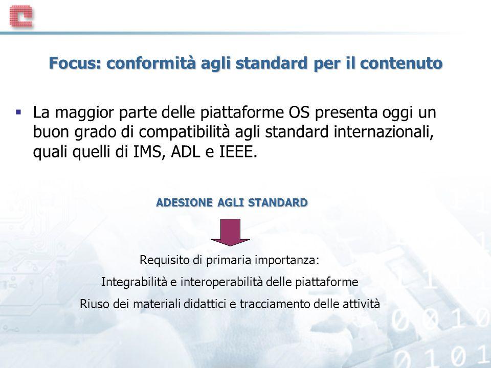 Focus: conformità agli standard per il contenuto