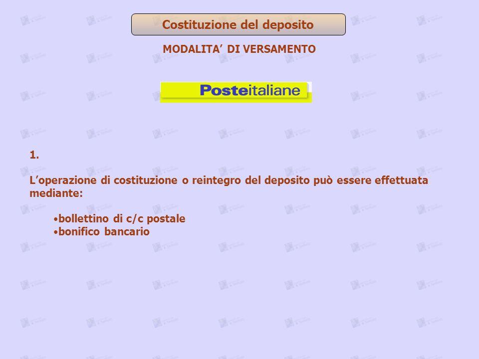 Costituzione del deposito MODALITA' DI VERSAMENTO
