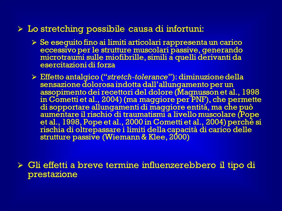 Lo stretching possibile causa di infortuni: