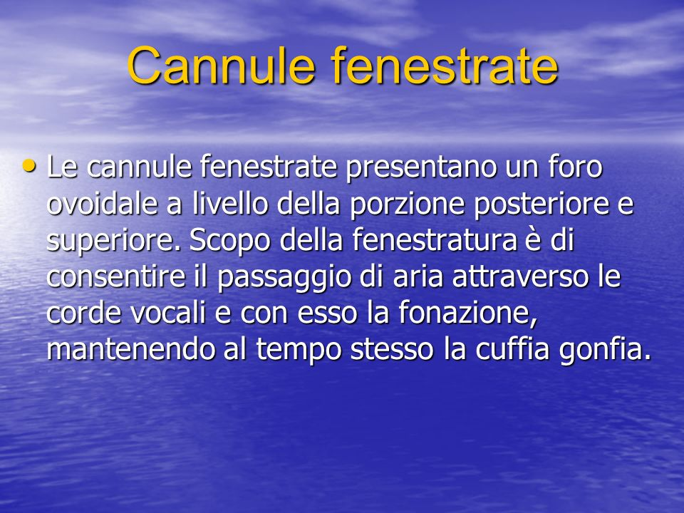 Cannule fenestrate
