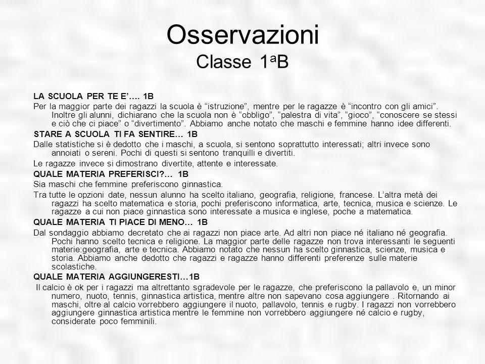 Osservazioni Classe 1aB