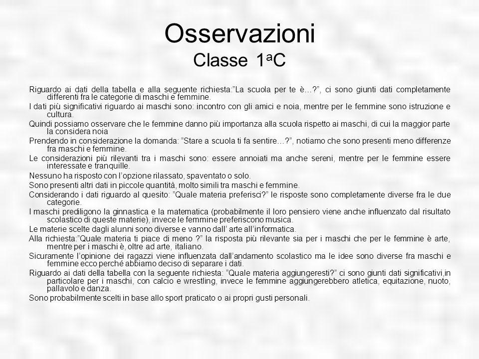 Osservazioni Classe 1aC
