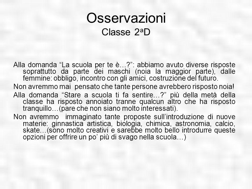 Osservazioni Classe 2aD