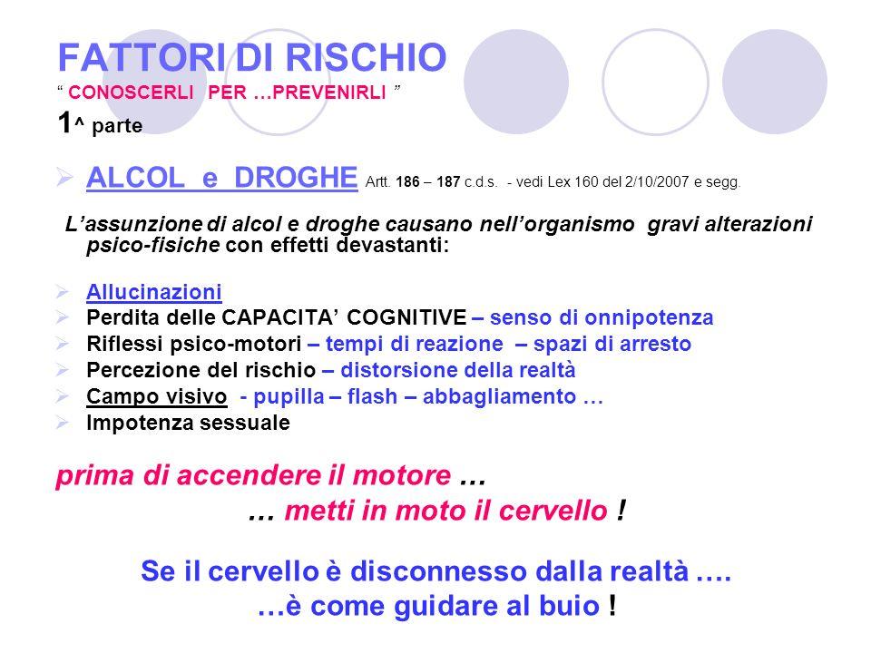 FATTORI DI RISCHIO CONOSCERLI PER …PREVENIRLI 1^ parte