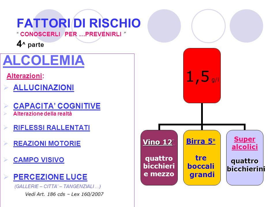FATTORI DI RISCHIO CONOSCERLI PER …PREVENIRLI 4^ parte