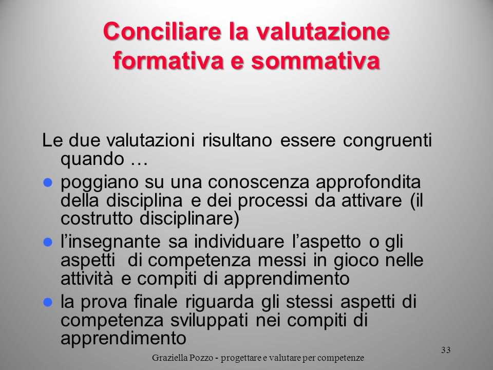 Conciliare la valutazione formativa e sommativa