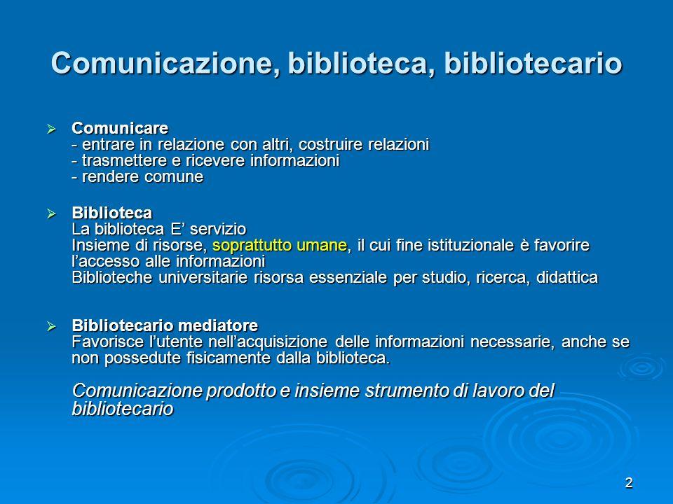 Comunicazione, biblioteca, bibliotecario