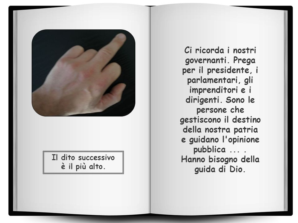 Il dito successivo è il più alto.