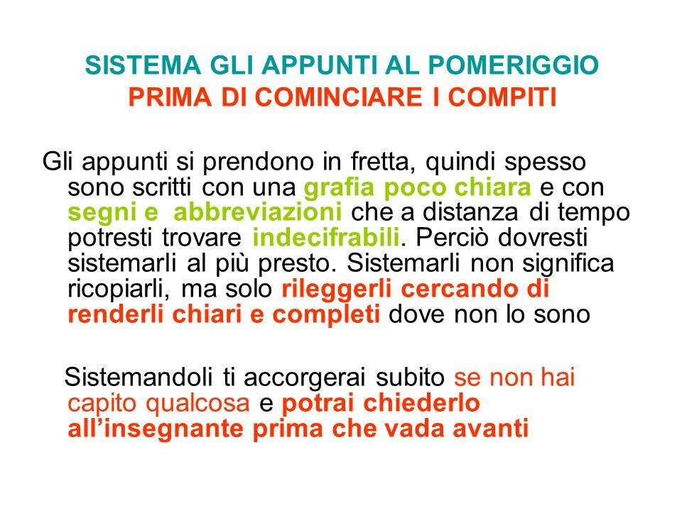 PRIMA DI COMINCIARE I COMPITI