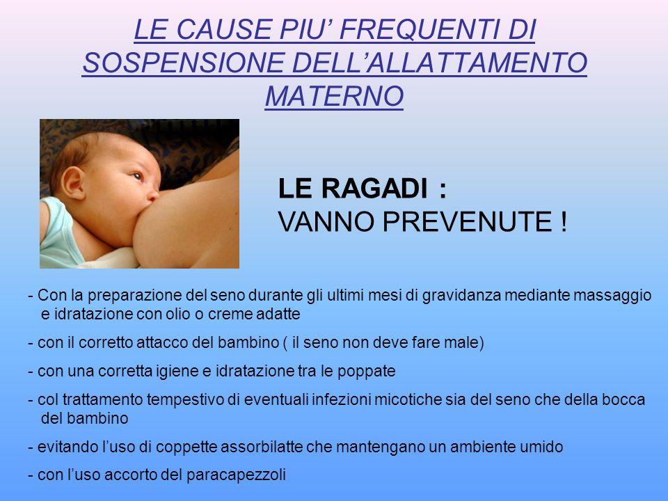 LE CAUSE PIU' FREQUENTI DI SOSPENSIONE DELL'ALLATTAMENTO MATERNO