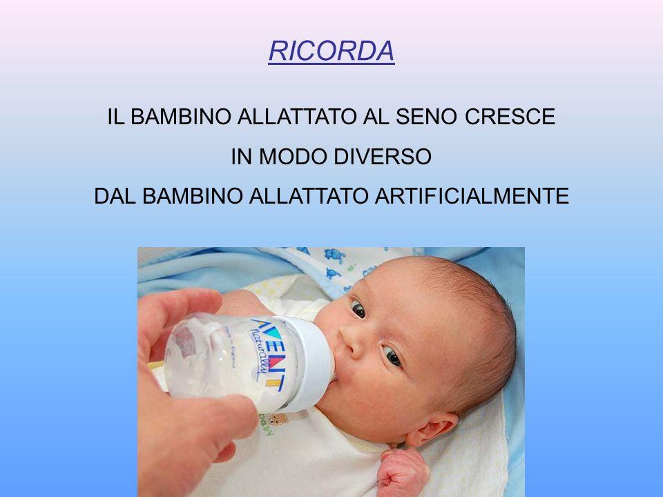RICORDA IL BAMBINO ALLATTATO AL SENO CRESCE IN MODO DIVERSO