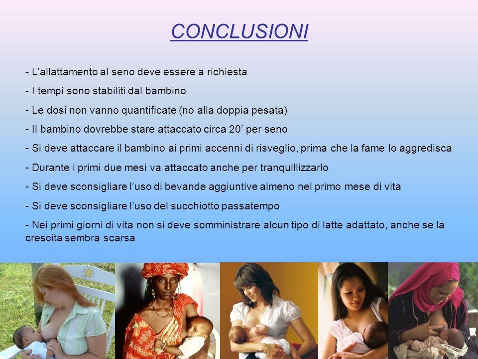 CONCLUSIONI L'allattamento al seno deve essere a richiesta