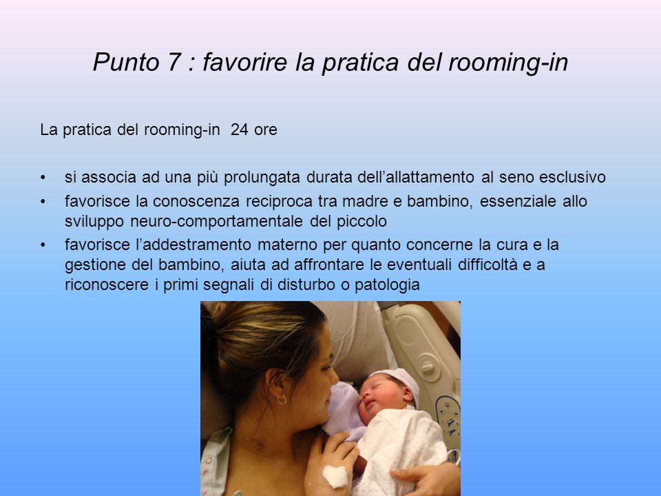 Punto 7 : favorire la pratica del rooming-in
