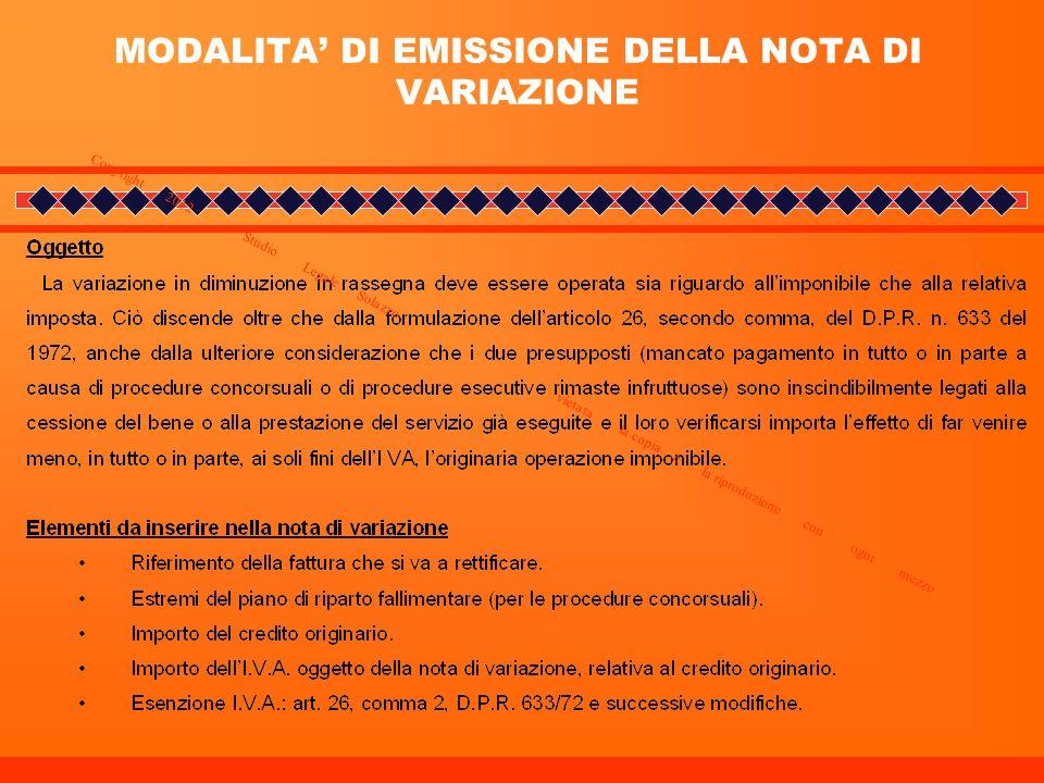 MODALITA' DI EMISSIONE DELLA NOTA DI VARIAZIONE