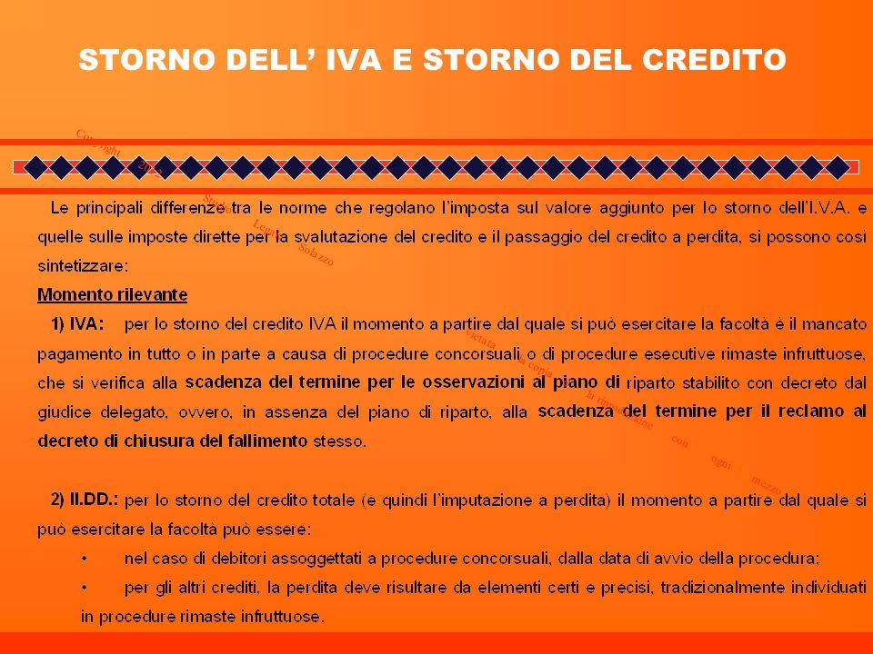 STORNO DELL' IVA E STORNO DEL CREDITO