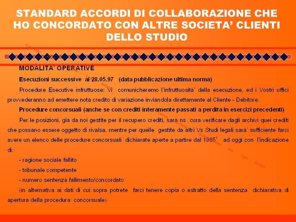 STANDARD ACCORDI DI COLLABORAZIONE CHE HO CONCORDATO CON ALTRE SOCIETA' CLIENTI DELLO STUDIO
