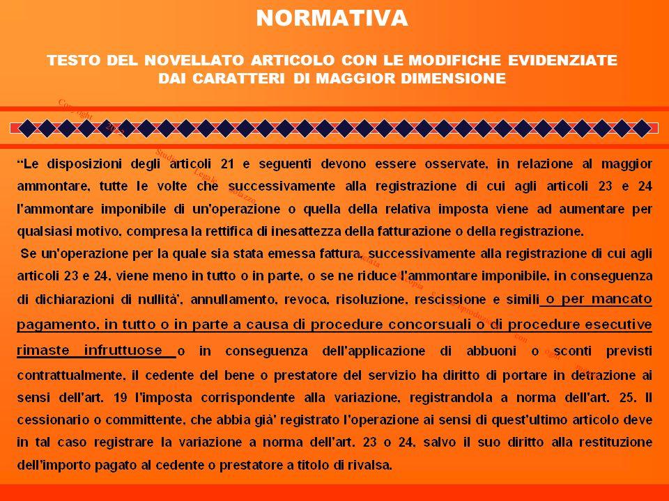 NORMATIVA TESTO DEL NOVELLATO ARTICOLO CON LE MODIFICHE EVIDENZIATE DAI CARATTERI DI MAGGIOR DIMENSIONE