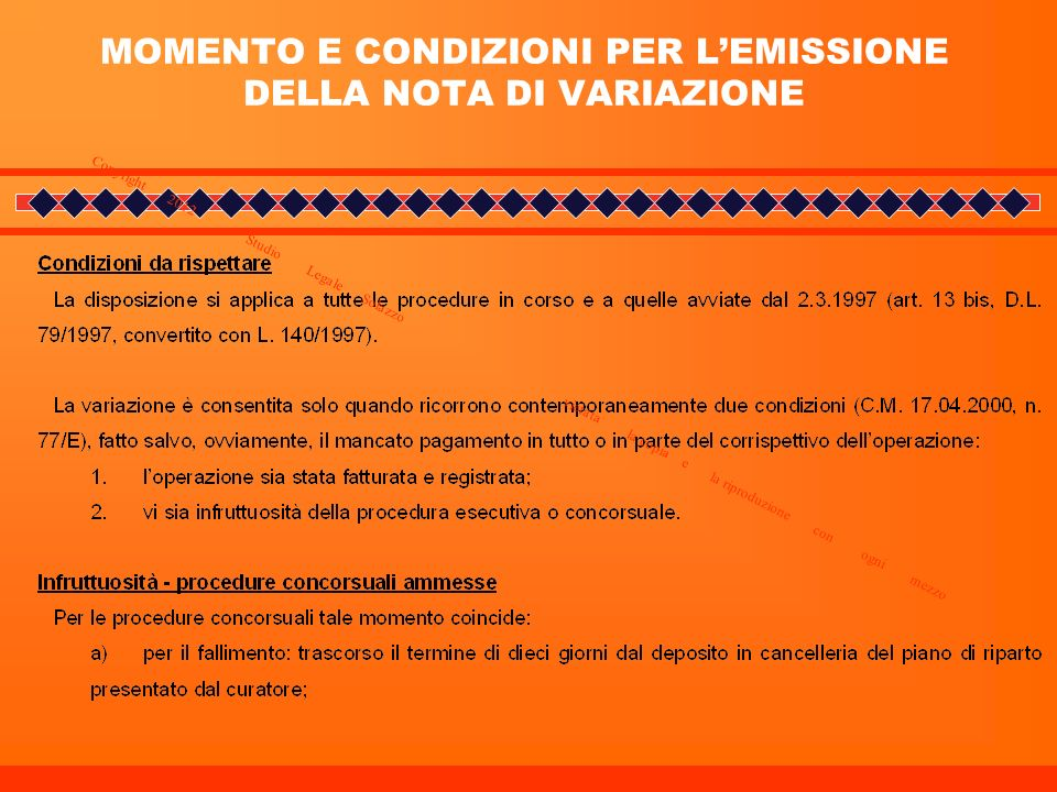 MOMENTO E CONDIZIONI PER L'EMISSIONE DELLA NOTA DI VARIAZIONE