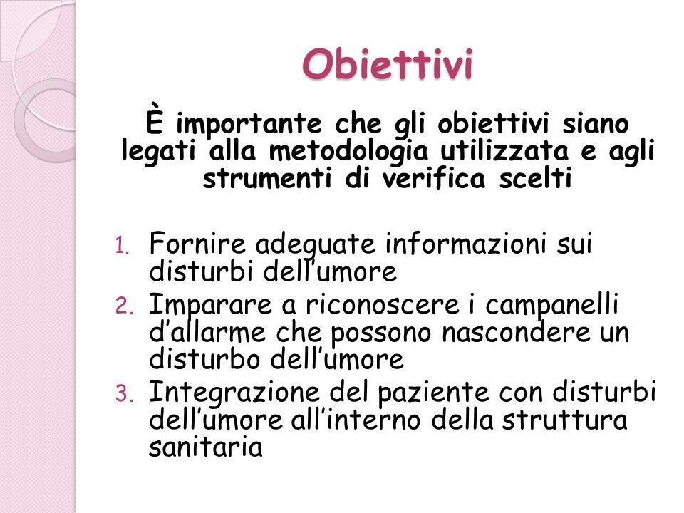 Obiettivi È importante che gli obiettivi siano legati alla metodologia utilizzata e agli strumenti di verifica scelti.