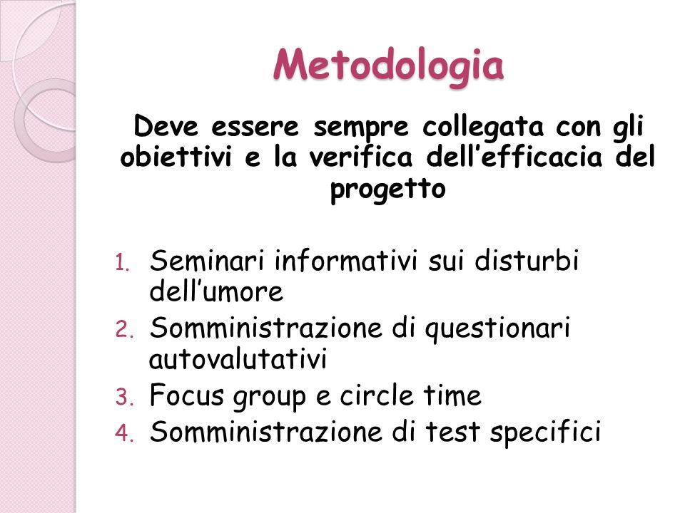 Metodologia Deve essere sempre collegata con gli obiettivi e la verifica dell'efficacia del progetto.