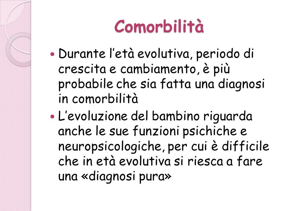 Comorbilità Durante l'età evolutiva, periodo di crescita e cambiamento, è più probabile che sia fatta una diagnosi in comorbilità.