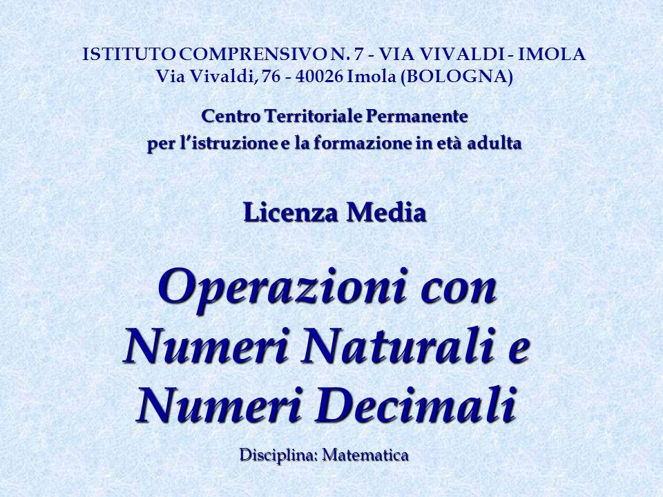Operazioni con Numeri Naturali e Numeri Decimali