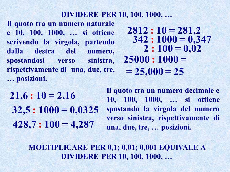 DIVIDERE PER 10, 100, 1000, …