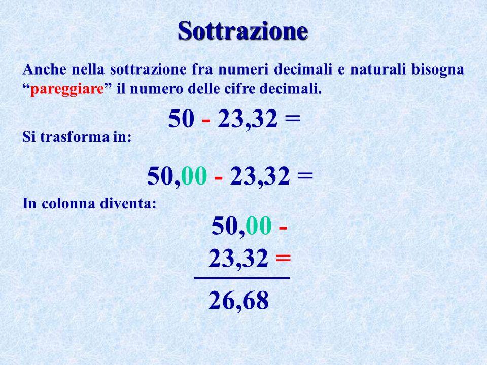 Sottrazione Anche nella sottrazione fra numeri decimali e naturali bisogna pareggiare il numero delle cifre decimali.