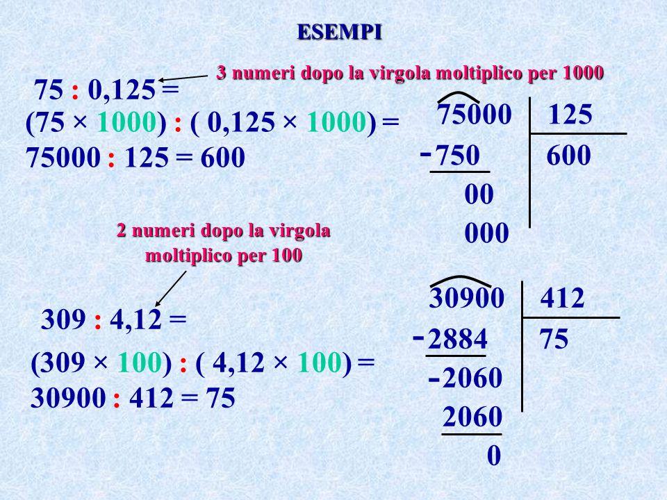 ESEMPI 3 numeri dopo la virgola moltiplico per 1000. 75 : 0,125 = 75000 125. 750 600.