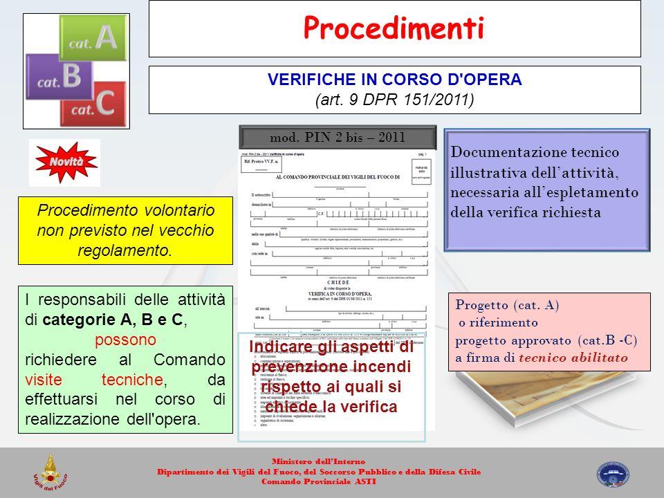 Procedimenti VERIFICHE IN CORSO D OPERA (art. 9 DPR 151/2011)